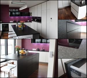 Kuchyně INFINI - DALIA Lak vysoký lesk PLUS/černé sklo/kámen - bezúchytková (mozaika)