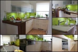 Kuchyně INFINI - DALIA/Lak vysoký lesk BASIC/obklad sklo (mozaika)