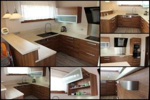 Kuchyně INFINI - SALSA lamino - ořech dijon/obklad umakart - Travertin (mozaika)