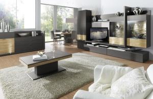 Loreto - obývací pokoj (LO2_LO32_CT125E_Lack taupe_Eiche Spaltstruktur)