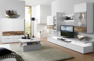 Loreto - obývací pokoj (LO6_LO36_Lack weiß_Nussbaum Spaltstruktur_1)