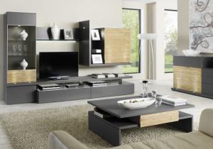 Loreto - obývací pokoj (LO9_Lack taupe_Eiche Spaltstruktur)