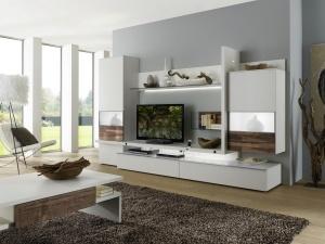 Loreto - obývací pokoj (LO14_Lack weiß_Nussbaum Spaltstruktur)