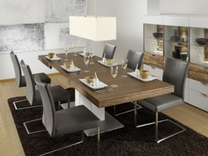 Loreto - jídelna (LOET180AE_LO38_Lack weiß_Nussbaum Spaltstruktur)