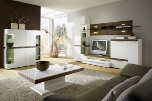 Cassale - obývací pokoj (CS2_CS41_CT125D_Lack weiß_Nussbaum sägerau)