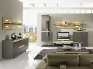 Cassale - obývací pokoj (CS3_CS51_ZWP3-195_Lack taupe_Kernesche sägerauh)