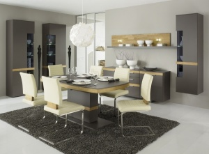 Cassale - obývací pokoj a jídelna (CS32_UV11-841L_UV11-841R_ET170AD_STH1_Lack taupe_Eiche medium)