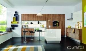 Kuchyně Ballerina - XL 1461 / XL 4031. Lamino v novém dekoru dub Koňak / Smart Glass sněhově bílá.